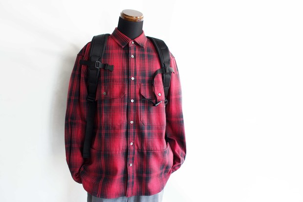 Meanswhile Flannel Check Shirt JacketのRedのスタイルの正面からの画像