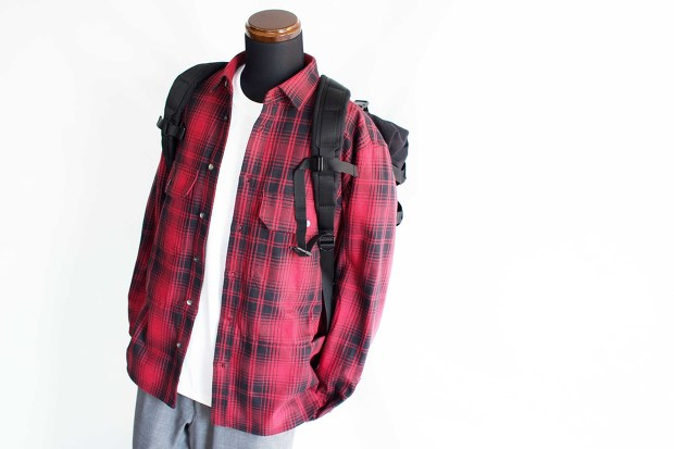 Meanswhile Flannel Check Shirt JacketのRedのスタイルの斜め上からの画像