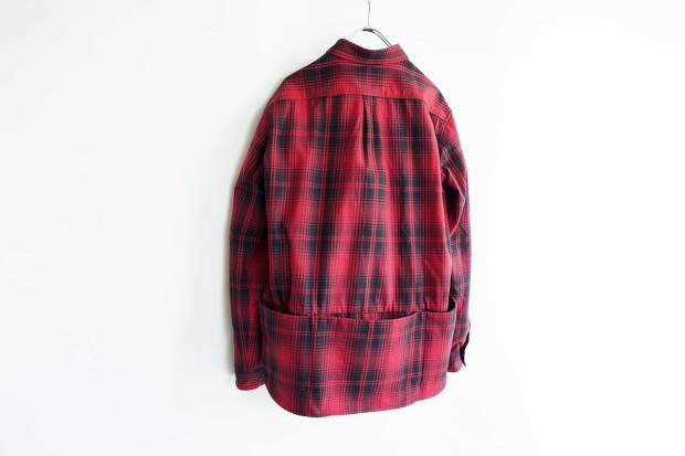 Meanswhile Flannel Check Shirt JacketのRedの背面の画像