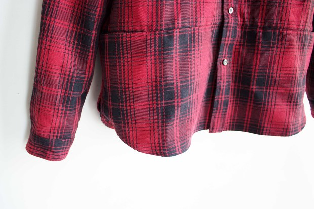 Meanswhile Flannel Check Shirt JacketのRedの裾の画像
