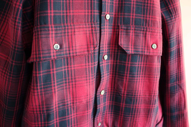 Meanswhile Flannel Check Shirt JacketのRedの胸ポケットの画像