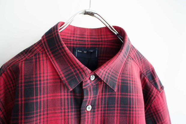 Meanswhile Flannel Check Shirt JacketのRedの襟の画像